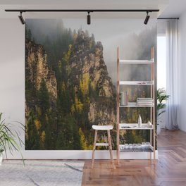 The Walls of Spearfish Canyon - Foggy Autumn Day in South Dakota Wall Mural