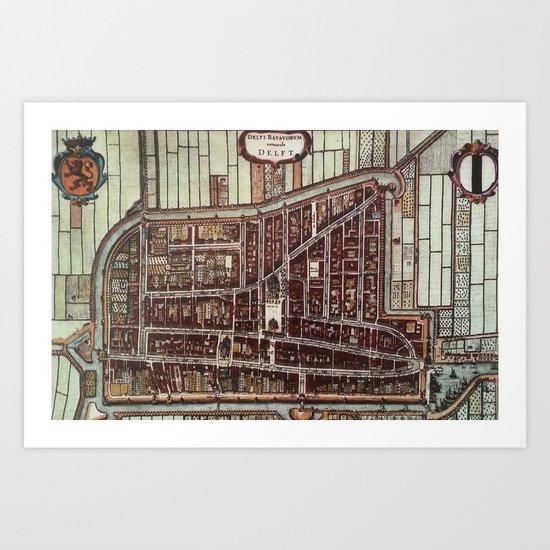 Replica city map of Delft 1649 Art Print