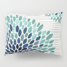 Blooms and Stripes, Aqua and Navy Pillow Sham