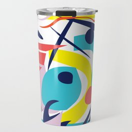 Bright Colorful Abstract Shapes Paper Cut Travel Mug