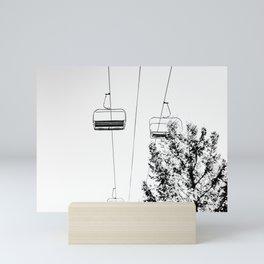 Ski Lift // Black and White Daylight Chairlift Mountain Photograph Mini Art Print