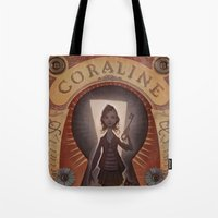coraline Tote Bags featuring Coraline by Audrey Benjaminsen