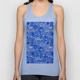 Chinese Symbols in Blue Porcelain Unisex Tank Top