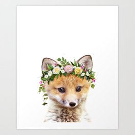 Baby Fox With Flower Crown, Baby Animals Art Print By Synplus Art Print