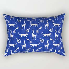 Animal kingdom. Black silhouettes of wild animals. African giraffes, leopards, cheetahs. snakes, exotic tropical birds. Tribal primitive ethnic nature navy grunge distressed pattern. Rectangular Pillow