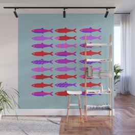 Colorful fish school pattern Wall Mural