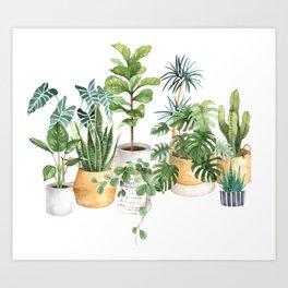 Watercolor house plants potted plants Art Print