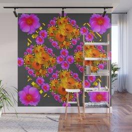 Hot Pink Roses Golden Daffodils Dark Grey Art Wall Mural