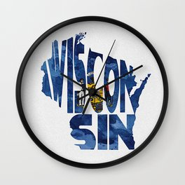 Wisconsin Typographic Flag Map Art Wall Clock