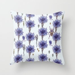 blue cornflower fields Throw Pillow