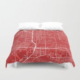 San Bernardino Map, USA - Red Duvet Cover