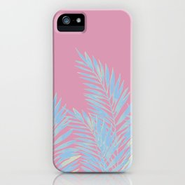 Palm Leaves Blue And Pink iPhone Case