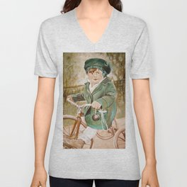Painting of David as a Child Unisex V-Neck