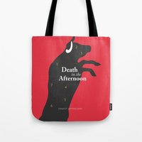 hemingway Tote Bags featuring Ernest Hemingway book Cover & Poster - Death in the Afternoon by Stefanoreves