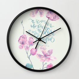 A Woman to be Praised - Proverbs 31:30 - May Green Wall Clock