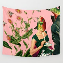 fish soul mate pink #collage Wall Tapestry