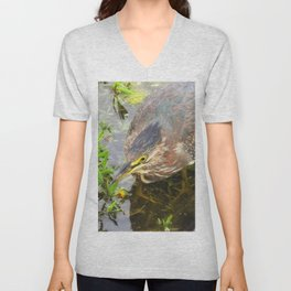 Young Green Heron Unisex V-Neck