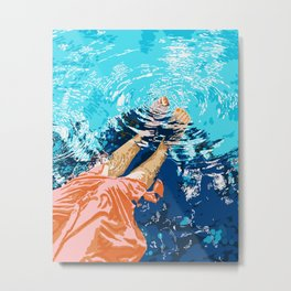 Take Me Where The Waves Kiss My Feet, Eclectic Nature River Woman Colorful Water Coral Bohemian Metal Print