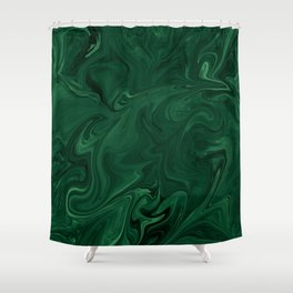 Modern Cotemporary Emerald Green Abstract Shower Curtain