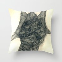 faces Throw Pillows featuring Faces by Attila Hegedus