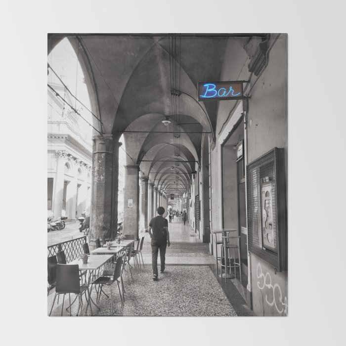 Black and white Bologna Street Photography Throw Blanket