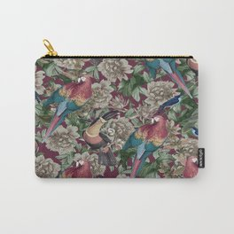 Burgundy Parrots Carry-All Pouch