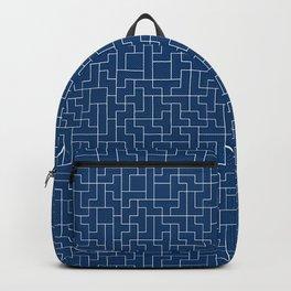 White Tetris Pattern on Blue Backpack