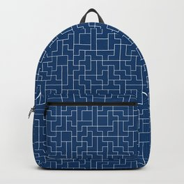 White Tetris Pattern on Blue Backpack