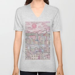 Seattle in Colored Pencil Unisex V-Neck
