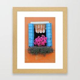 Orange Burano Window Framed Art Print