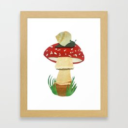 Mushroom & Snail Duo Framed Art Print