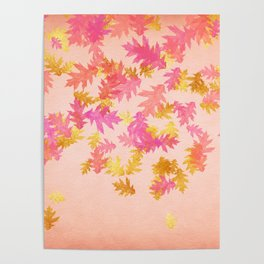 Autumn - world 1 - gold glitter leaves on pink background Poster