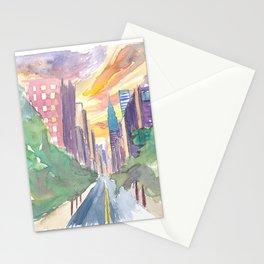 New York City Lexington Avenue View Of Skyline Stationery Cards