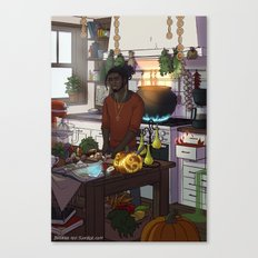 Modern Male Witch Kitchen Canvas Print
