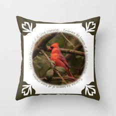 Male Cardinal Bird Throw Pillow