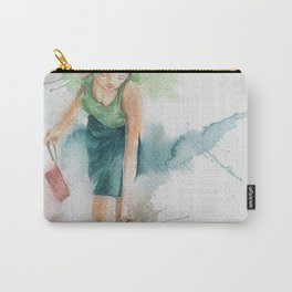 watercolor illustration of Woman in Fashion Clothes with Boots. Carry-All Pouch