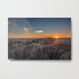 South Dakota Sunset - Dusk in the Badlands Metal Print