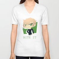 dmmd V-neck T-shirts featuring The Green Nerd by Collette Ren