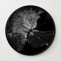 detroit Wall Clocks featuring Detroit map  by Line Line Lines
