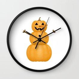 Pumpkin Snowman Wall Clock