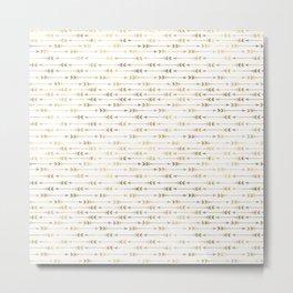 White & Gold Arrow Pattern Metal Print