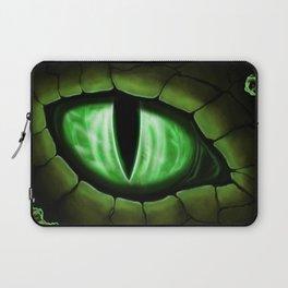Green Dragon Eye Fantasy Painting Colorful Digital Illustration Laptop Sleeve