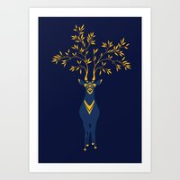 Golden deer Art Print