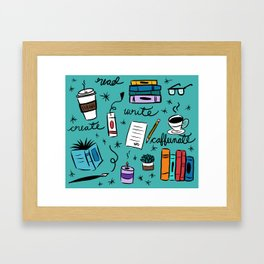 Read, Write, Create, Caffeinate (teal) Framed Art Print
