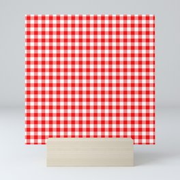 Valentine Red Heart Rich Red and White Buffalo Check Plaid Mini Art Print