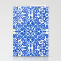 folk Stationery Cards featuring Cobalt Blue & China White Folk Art Pattern by micklyn
