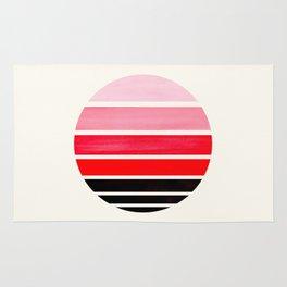 Red Mid Century Modern Minimalist Circle Round Photo Staggered Sunset Geometric Stripe Design Rug