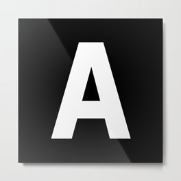 Letter A (White & Black) Metal Print