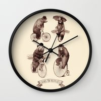 bicycles Wall Clocks featuring Bears on Bicycles by Eric Fan