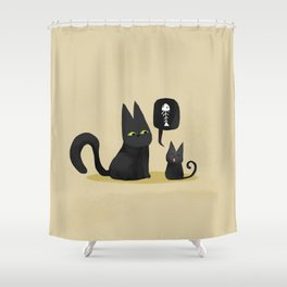 Kiwi the black cat with litlle kiwi hungry Shower Curtain